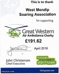 Great Western Air Ambulance Charity thank you certificate