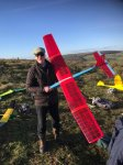 Richard Lay with his glider successfully flown after 26 years