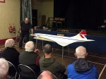 Pete Evans giving a presentation on the PSS Concorde that he scratch built